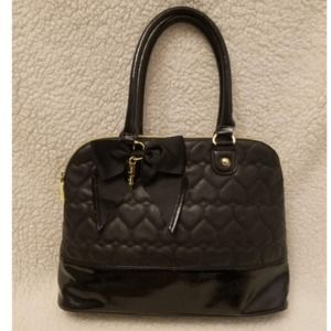 Betsey Johnson Quilted Heart & Leather Bag